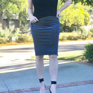 VINTAGE pencil tube skirt VELVET blue green M